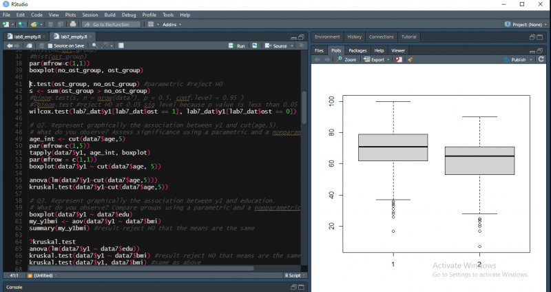 A section of code on black backgound takes up the left half of the image. The other half consists of 2 boxplots