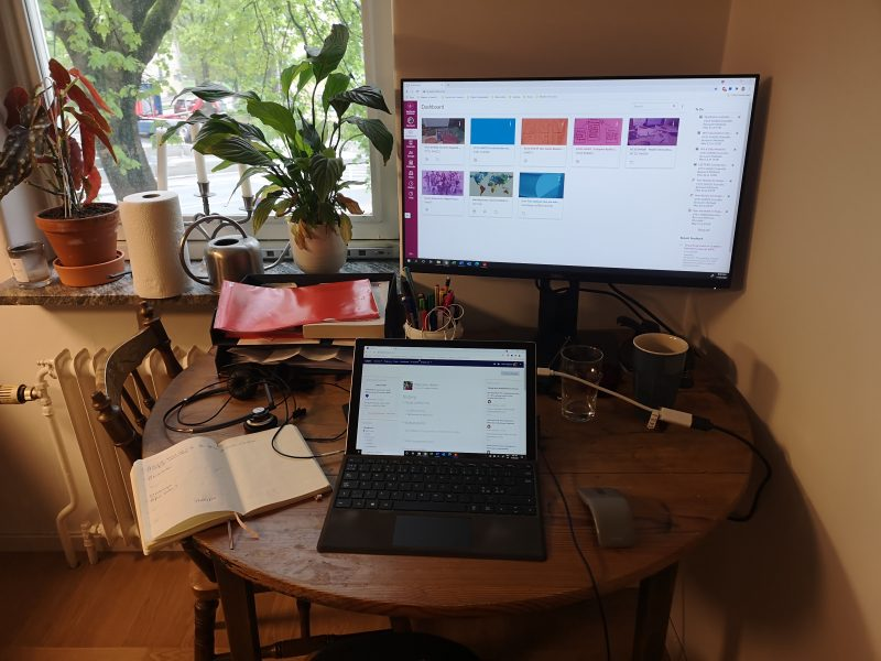 Study desk with laptop and computer monitor