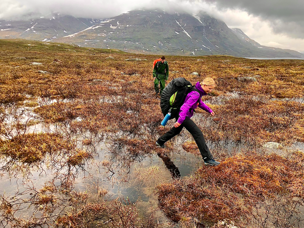 Hiking over a flooded trail on the Kungsleden